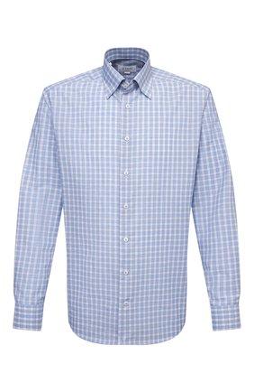 Мужская сорочка из хлопка и льна ETON голубого цвета, арт. 1000 02048 | Фото 1
