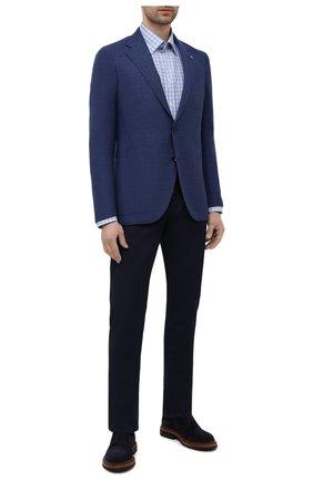 Мужская сорочка из хлопка и льна ETON голубого цвета, арт. 1000 02048 | Фото 2