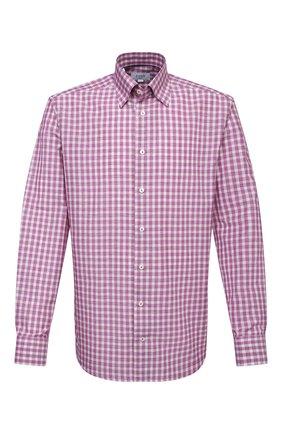 Мужская сорочка из хлопка и льна ETON фиолетового цвета, арт. 1000 02048 | Фото 1 (Длина (для топов): Стандартные; Материал внешний: Хлопок; Рукава: Длинные; Случай: Формальный; Рубашки М: Slim Fit; Манжеты: На пуговицах; Принт: Клетка; Воротник: Кент; Стили: Классический)