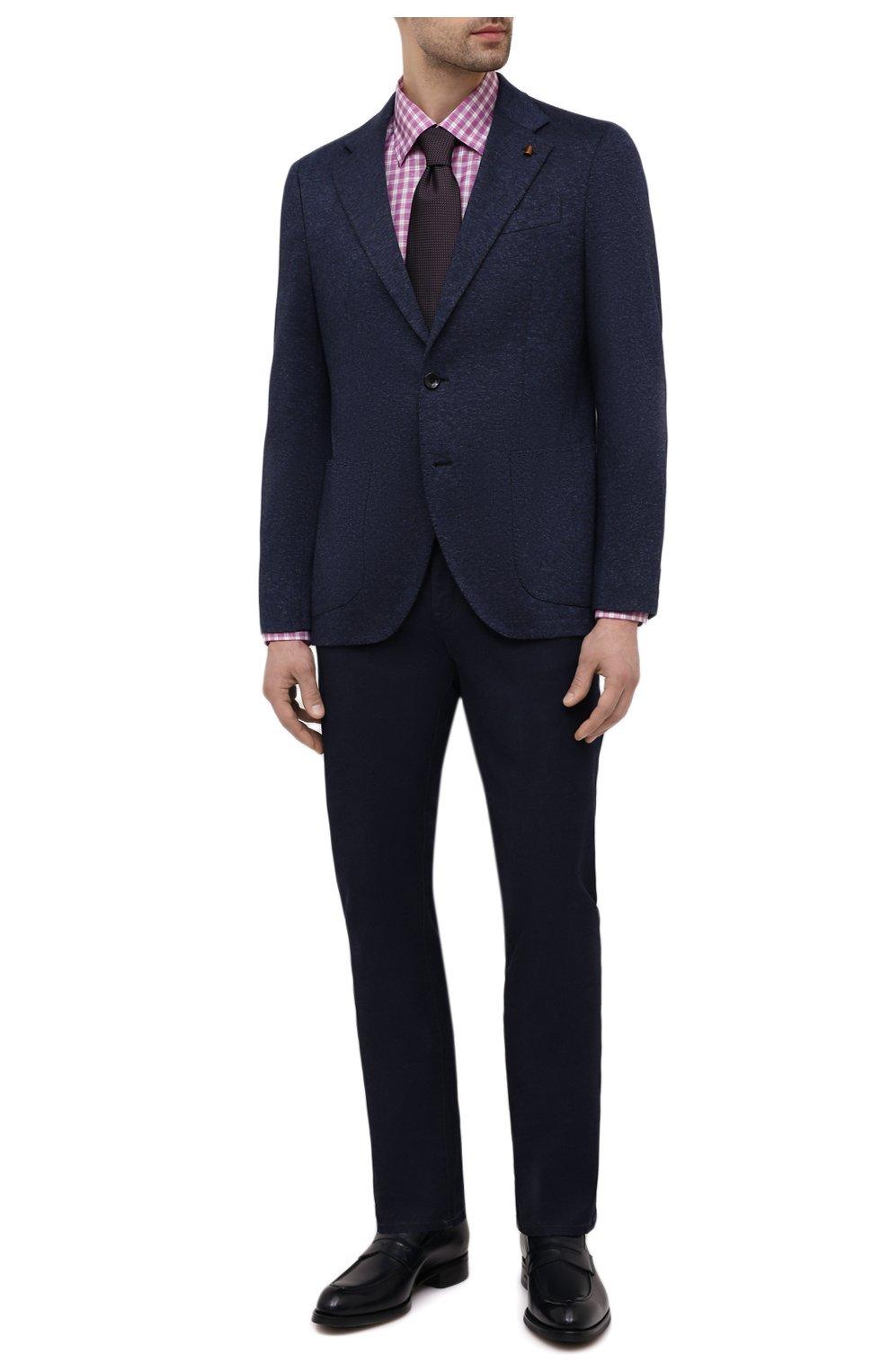 Мужская сорочка из хлопка и льна ETON фиолетового цвета, арт. 1000 02048   Фото 2 (Манжеты: На пуговицах; Принт: Клетка; Воротник: Кент; Рукава: Длинные; Длина (для топов): Стандартные; Рубашки М: Slim Fit; Материал внешний: Хлопок; Стили: Классический; Случай: Формальный)