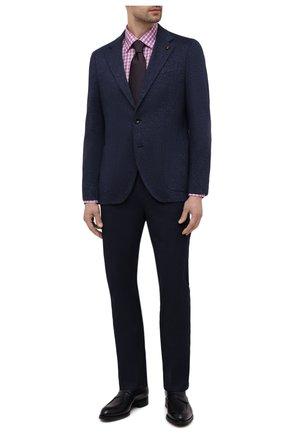 Мужская сорочка из хлопка и льна ETON фиолетового цвета, арт. 1000 02048 | Фото 2 (Длина (для топов): Стандартные; Материал внешний: Хлопок; Рукава: Длинные; Случай: Формальный; Рубашки М: Slim Fit; Манжеты: На пуговицах; Принт: Клетка; Воротник: Кент; Стили: Классический)