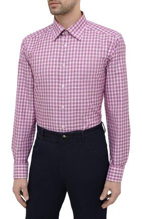 Мужская сорочка из хлопка и льна ETON фиолетового цвета, арт. 1000 02048   Фото 3 (Манжеты: На пуговицах; Принт: Клетка; Воротник: Кент; Рукава: Длинные; Длина (для топов): Стандартные; Рубашки М: Slim Fit; Материал внешний: Хлопок; Стили: Классический; Случай: Формальный)