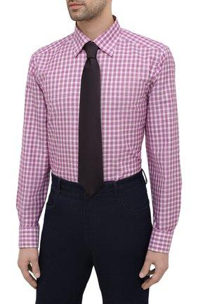 Мужская сорочка из хлопка и льна ETON фиолетового цвета, арт. 1000 02048   Фото 4 (Манжеты: На пуговицах; Принт: Клетка; Воротник: Кент; Рукава: Длинные; Длина (для топов): Стандартные; Рубашки М: Slim Fit; Материал внешний: Хлопок; Стили: Классический; Случай: Формальный)