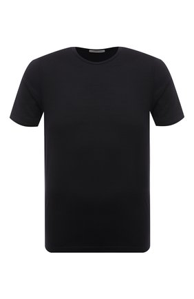 Мужская футболка из шелка и хлопка CORNELIANI черного цвета, арт. 87G553-1125023/00 | Фото 1 (Материал внешний: Шелк, Хлопок; Длина (для топов): Стандартные; Рукава: Короткие; Принт: Без принта; Стили: Кэжуэл)