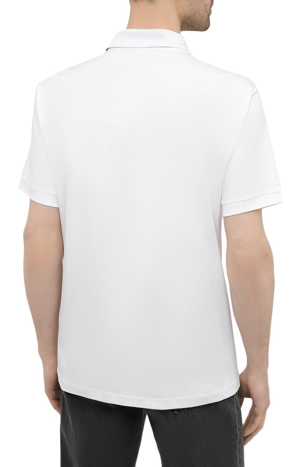 Мужское хлопковое поло GIORGIO ARMANI белого цвета, арт. 3KSF73/SJXDZ   Фото 4