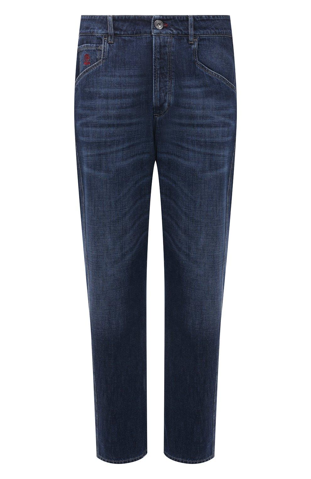 Мужские джинсы BRUNELLO CUCINELLI темно-синего цвета, арт. M0Z37Q3040   Фото 1
