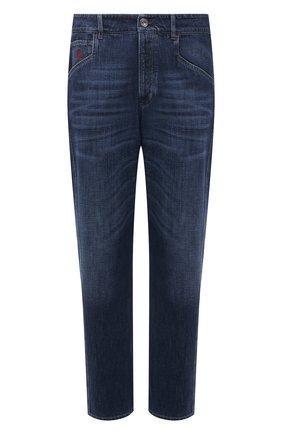 Мужские джинсы BRUNELLO CUCINELLI темно-синего цвета, арт. M0Z37Q3040 | Фото 1 (Материал внешний: Хлопок, Деним; Длина (брюки, джинсы): Стандартные; Силуэт М (брюки): Прямые; Стили: Кэжуэл)