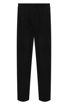 Мужские шерстяные брюки VERSACE черного цвета, арт. A88845/1F0737 | Фото 1 (Длина (брюки, джинсы): Стандартные; Материал внешний: Шерсть; Случай: Повседневный; Стили: Кэжуэл)