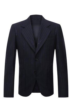Мужской пиджак из шерсти и хлопка VERSACE темно-синего цвета, арт. A88820/1F01181 | Фото 1
