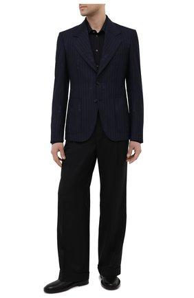 Мужской пиджак из шерсти и хлопка VERSACE темно-синего цвета, арт. A88820/1F01181 | Фото 2