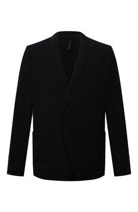 Мужской пиджак из хлопка и льна TRANSIT черного цвета, арт. CFUTRNH171 | Фото 1