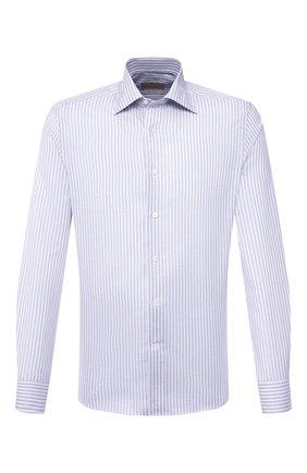 Мужская сорочка из хлопка и льна CANALI голубого цвета, арт. NX18/GR02289 | Фото 1