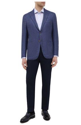 Мужская сорочка из хлопка и льна CANALI голубого цвета, арт. NX18/GR02289 | Фото 2