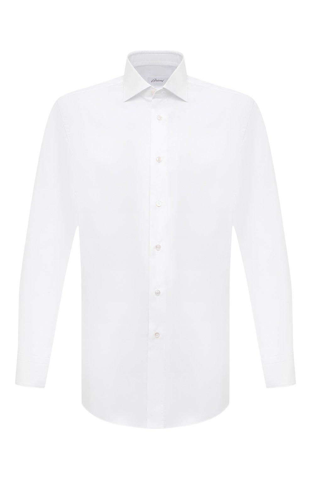 Мужская хлопковая сорочка BRIONI белого цвета, арт. RCH10N/P004L | Фото 1