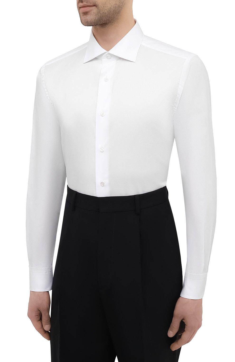 Мужская хлопковая сорочка BRIONI белого цвета, арт. RCH10N/P004L | Фото 3