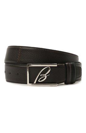 Мужской кожаный ремень BRIONI темно-коричневого цвета, арт. 0BAS0L/09719 | Фото 1