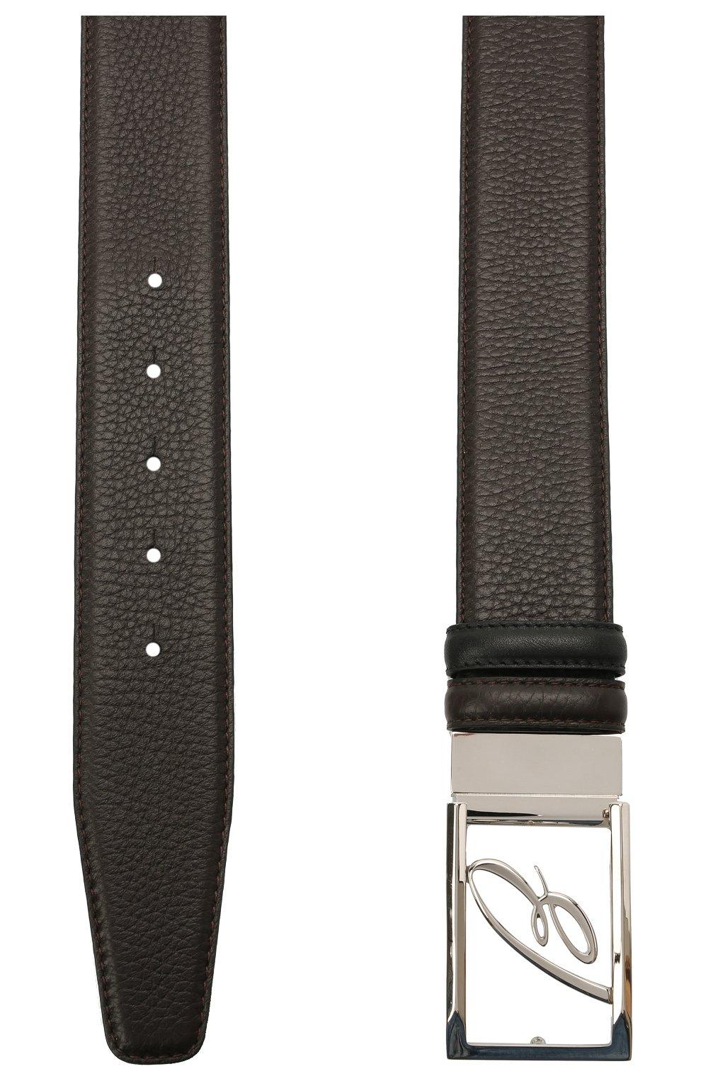 Мужской кожаный ремень BRIONI темно-коричневого цвета, арт. 0BAS0L/09719   Фото 2