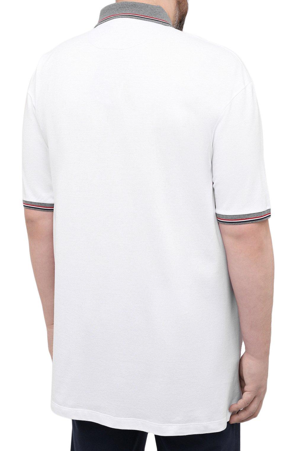 Мужское хлопковое поло PAUL&SHARK белого цвета, арт. 21411229/C00/3XL-6XL | Фото 4 (Застежка: Пуговицы; Рукава: Короткие; Длина (для топов): Удлиненные; Материал внешний: Хлопок; Стили: Кэжуэл)