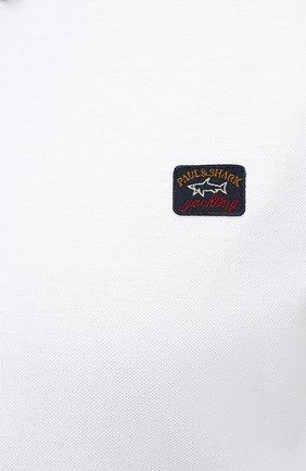 Мужское хлопковое поло PAUL&SHARK белого цвета, арт. 21411229/C00/3XL-6XL | Фото 5 (Застежка: Пуговицы; Рукава: Короткие; Длина (для топов): Удлиненные; Материал внешний: Хлопок; Стили: Кэжуэл)