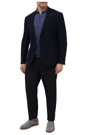 Мужское шерстяное поло LUCIANO BARBERA синего цвета, арт. 109779/51078/58-62 | Фото 2
