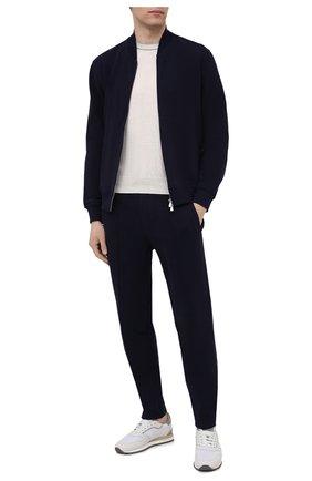 Мужские хлопковые брюки BRUNELLO CUCINELLI темно-синего цвета, арт. M0T153212G | Фото 2 (Случай: Повседневный; Длина (брюки, джинсы): Стандартные; Стили: Спорт-шик; Мужское Кросс-КТ: Брюки-трикотаж; Материал внешний: Хлопок; Кросс-КТ: Спорт)