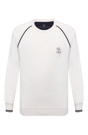 Мужской хлопковый свитшот BRUNELLO CUCINELLI белого цвета, арт. M0T359196G | Фото 1