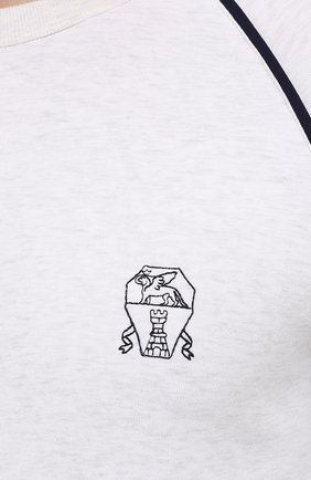 Мужской хлопковый свитшот BRUNELLO CUCINELLI белого цвета, арт. M0T359196G | Фото 5