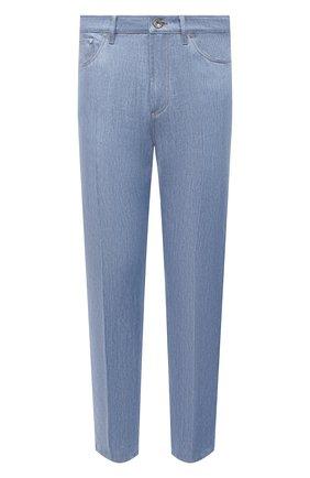 Мужские льняные брюки BRUNELLO CUCINELLI голубого цвета, арт. MH229C3000 | Фото 1