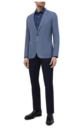 Мужская хлопковая сорочка ZILLI синего цвета, арт. MFV-84002-G11601/ZS2 | Фото 2