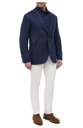 Мужская хлопковая рубашка VAN LAACK синего цвета, арт. M-PER-LSF/180031/3XL | Фото 2 (Длина (для топов): Стандартные; Материал внешний: Хлопок; Случай: Повседневный; Рукава: Длинные; Стили: Кэжуэл; Воротник: Акула; Принт: Однотонные; Манжеты: На пуговицах)
