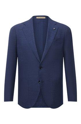 Мужской пиджак из шерсти и шелка SARTORIA LATORRE темно-синего цвета, арт. EF74 70305 | Фото 1 (Материал подклада: Купро; Рукава: Длинные; Длина (для топов): Стандартные; Случай: Формальный; Материал внешний: Шерсть; Пиджаки М: Прямой; Стили: Классический; 1-2-бортные: Однобортные)