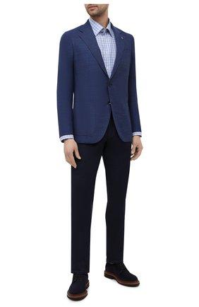 Мужской пиджак из шерсти и шелка SARTORIA LATORRE темно-синего цвета, арт. EF74 70305 | Фото 2 (Материал подклада: Купро; Рукава: Длинные; Длина (для топов): Стандартные; Случай: Формальный; Материал внешний: Шерсть; Пиджаки М: Прямой; Стили: Классический; 1-2-бортные: Однобортные)