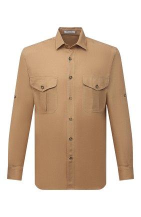 Мужская льняная рубашка LORO PIANA коричневого цвета, арт. FAL6142 | Фото 1