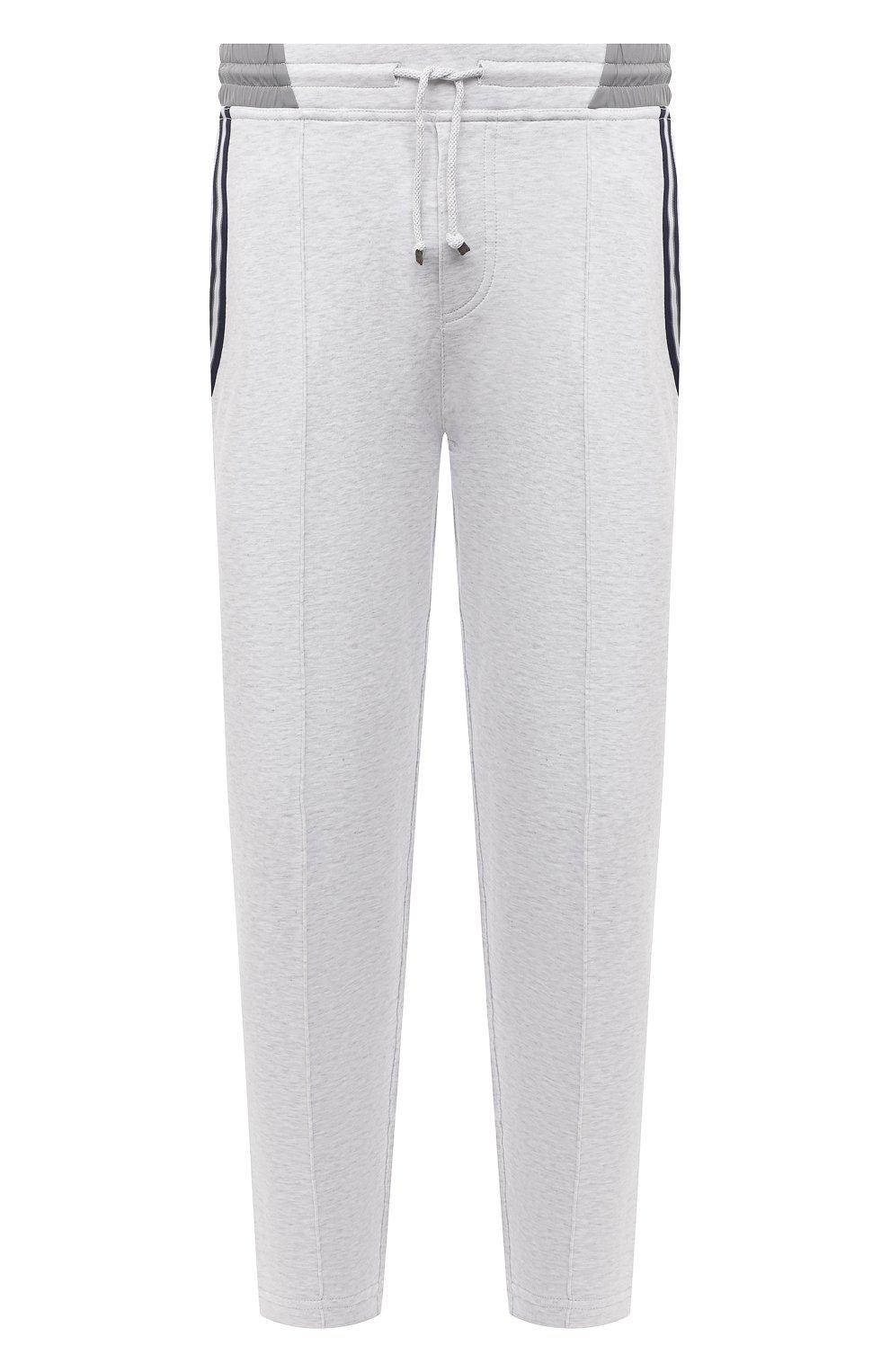 Мужские хлопковые брюки BRUNELLO CUCINELLI серого цвета, арт. M0T353373G   Фото 1