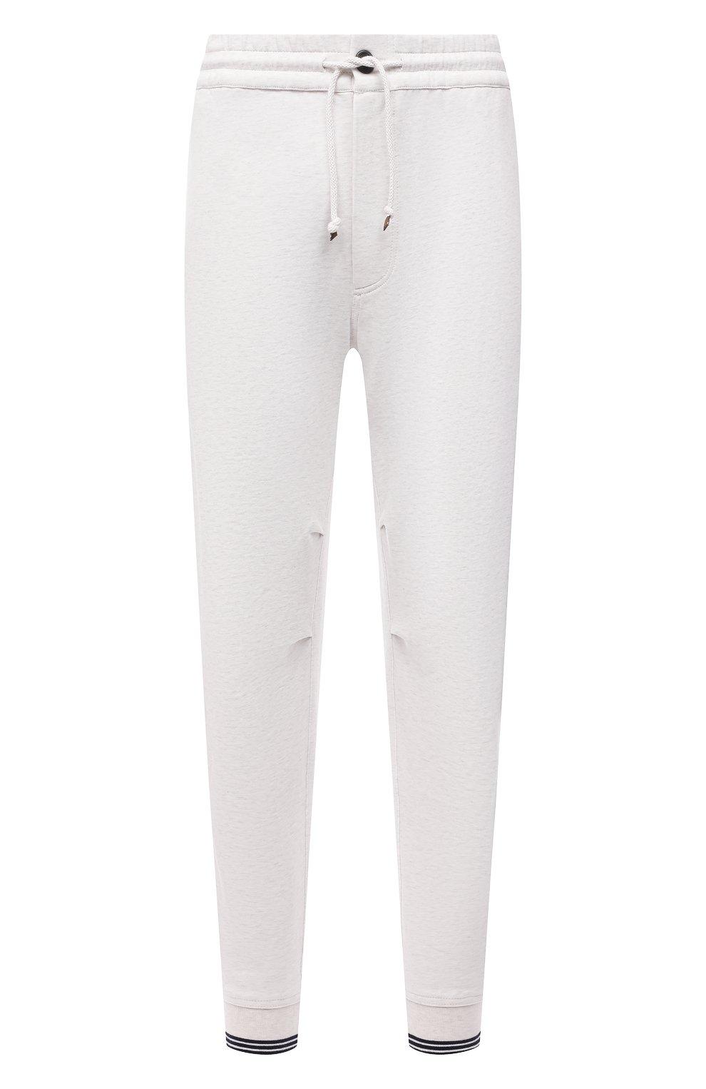 Мужские хлопковые джоггеры BRUNELLO CUCINELLI белого цвета, арт. M0T353393G | Фото 1