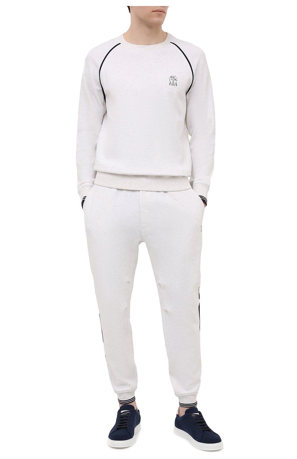 Мужские хлопковые джоггеры BRUNELLO CUCINELLI белого цвета, арт. M0T353393G | Фото 2