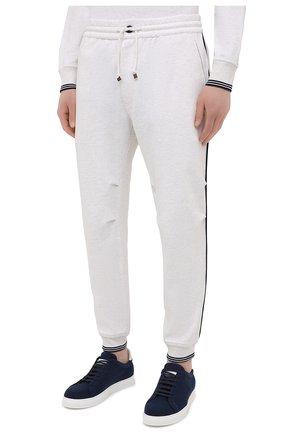 Мужские хлопковые джоггеры BRUNELLO CUCINELLI белого цвета, арт. M0T353393G | Фото 3