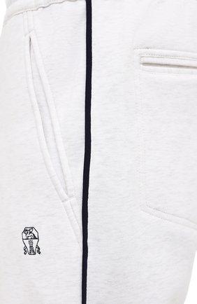 Мужские хлопковые джоггеры BRUNELLO CUCINELLI белого цвета, арт. M0T353393G | Фото 5