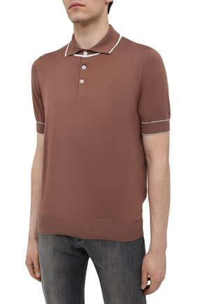 Мужское хлопковое поло BRUNELLO CUCINELLI коричневого цвета, арт. M29802005 | Фото 3