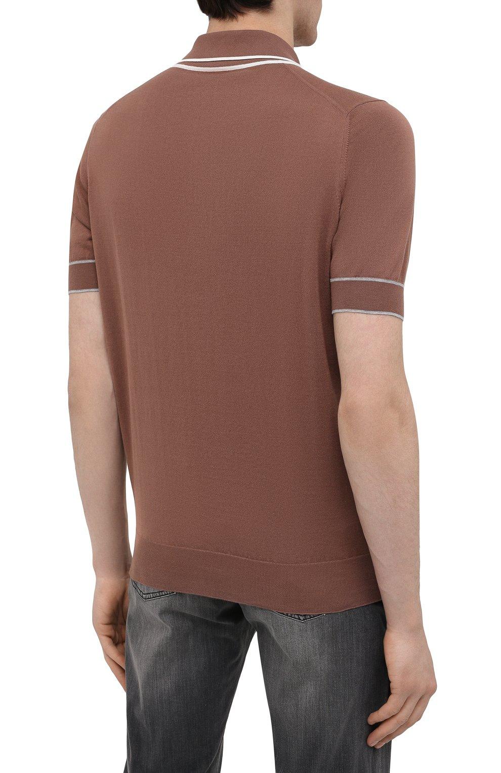 Мужское хлопковое поло BRUNELLO CUCINELLI коричневого цвета, арт. M29802005 | Фото 4