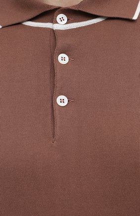 Мужское хлопковое поло BRUNELLO CUCINELLI коричневого цвета, арт. M29802005 | Фото 5