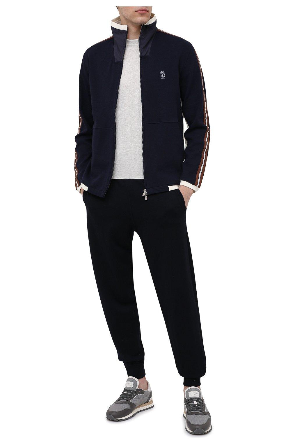 Мужской хлопковый джемпер BRUNELLO CUCINELLI светло-серого цвета, арт. M29802010 | Фото 2