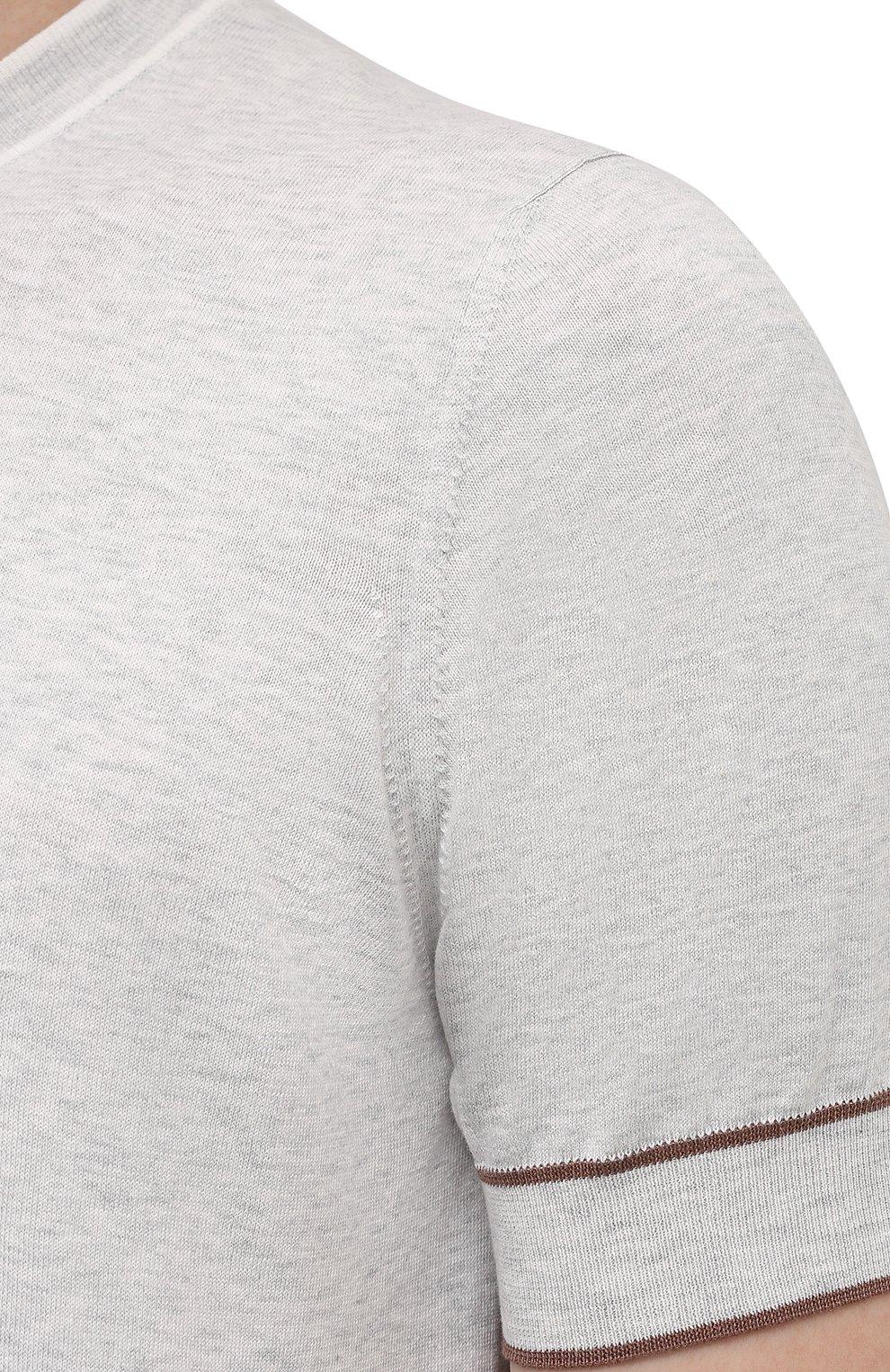 Мужской хлопковый джемпер BRUNELLO CUCINELLI светло-серого цвета, арт. M29802010 | Фото 5
