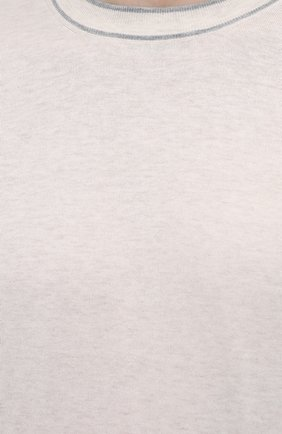 Мужской хлопковый джемпер BRUNELLO CUCINELLI светло-бежевого цвета, арт. M29802010   Фото 5