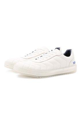 Мужские кожаные кеды KNT белого цвета, арт. USSK031N00444 | Фото 1 (Подошва: Массивная; Материал внутренний: Натуральная кожа)