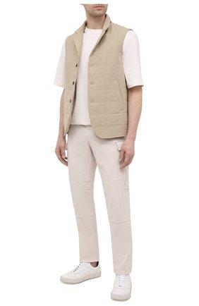 Мужские кожаные кеды KNT белого цвета, арт. USSK031N00444 | Фото 2 (Подошва: Массивная; Материал внутренний: Натуральная кожа)