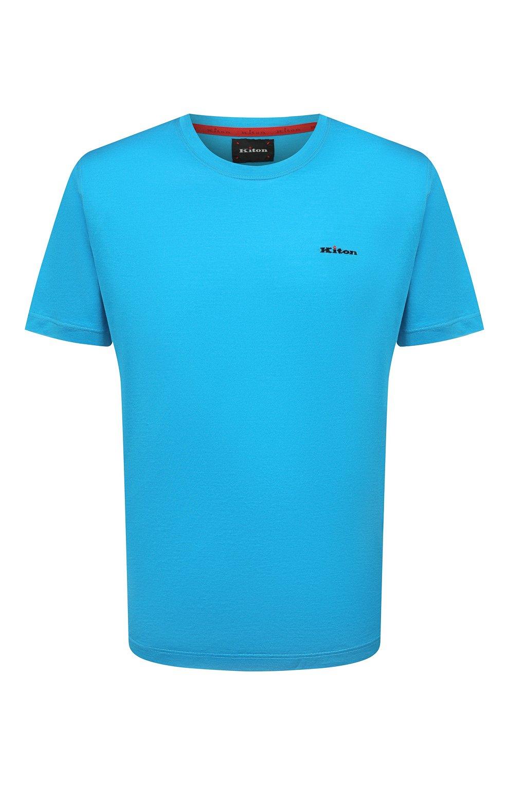Мужская хлопковая футболка KITON голубого цвета, арт. UK1274 | Фото 1