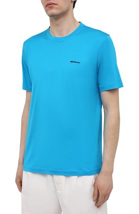 Мужская хлопковая футболка KITON голубого цвета, арт. UK1274 | Фото 3