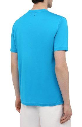 Мужская хлопковая футболка KITON голубого цвета, арт. UK1274 | Фото 4