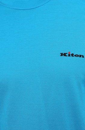 Мужская хлопковая футболка KITON голубого цвета, арт. UK1274 | Фото 5